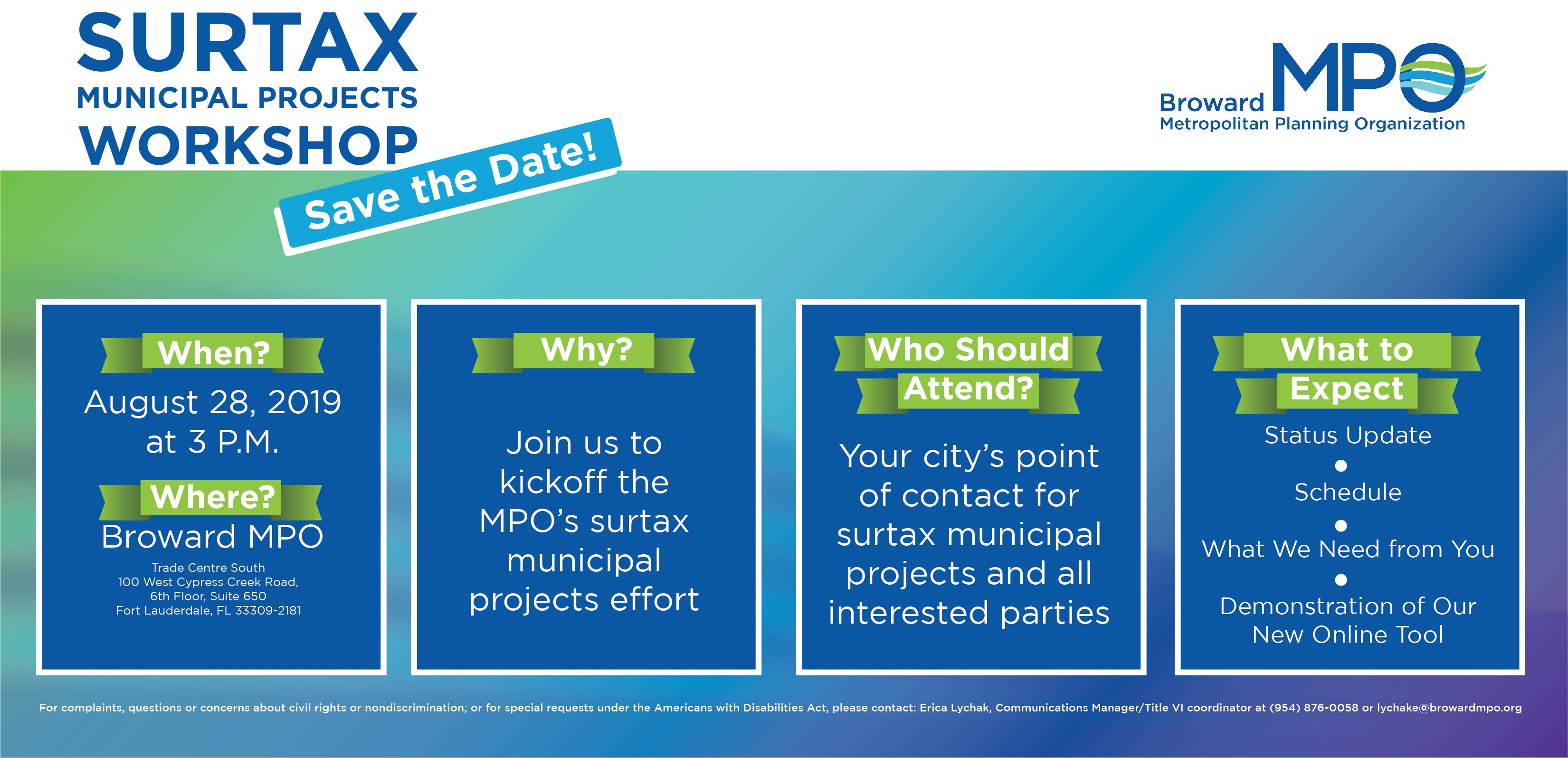 Surtax Municipal Projects Workshop Flyer
