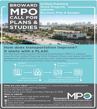 UPWP Call for Plans and Studies