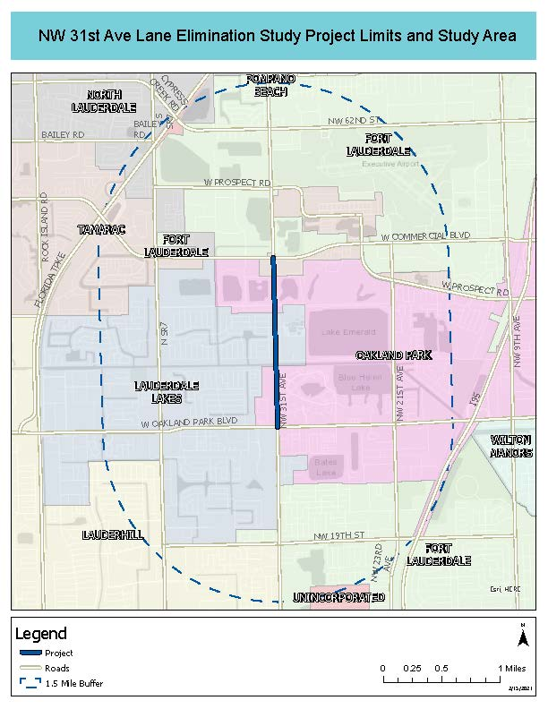 Lane Elimination Study Area Map