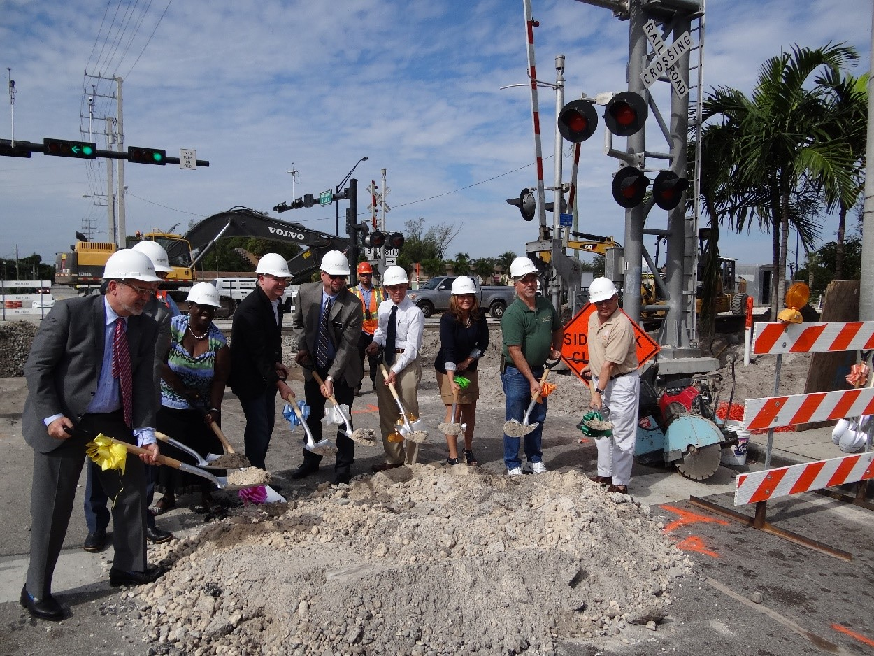 Groundbreaking Event for Quiet Zones, November 2016 with City Officials