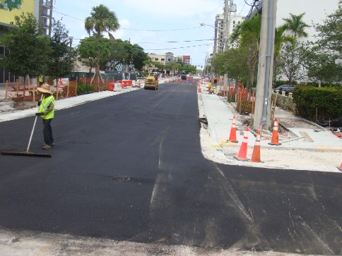 Asphalt paving on NW 4th Street.