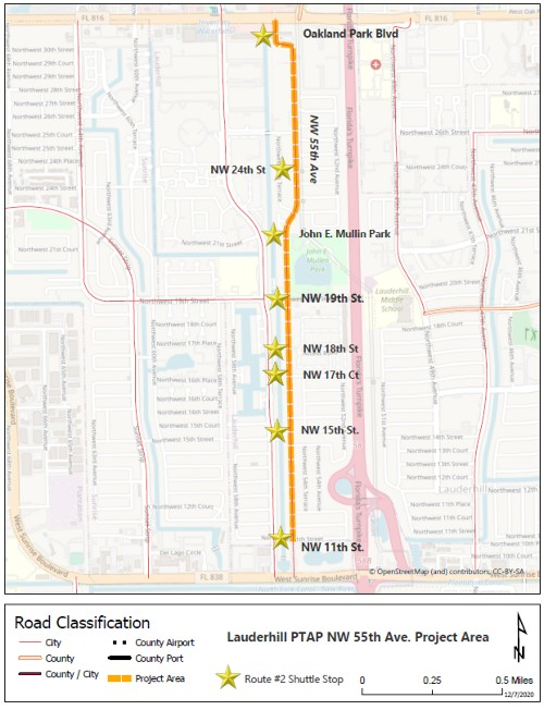 55th Ave shuttle stop map