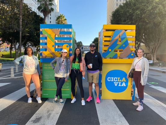 Broward Mpo staff in front of Ciclavia art installation
